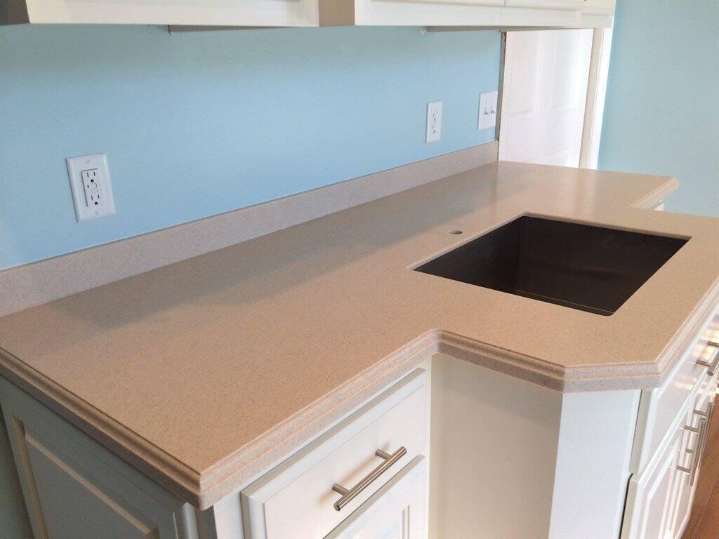seamless corian countertop cut for stove insert